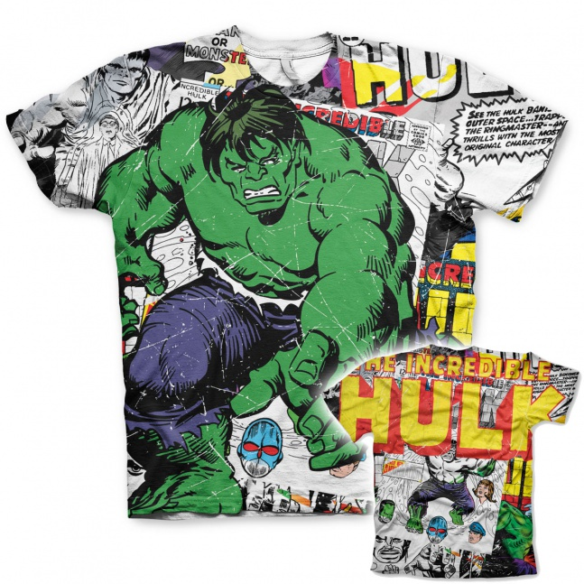 Koszulka męska The Hulk Comic Allover