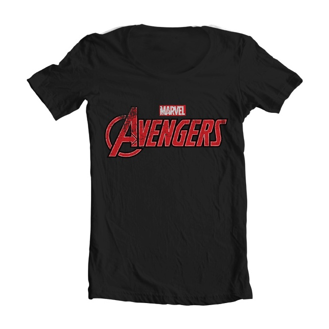 Koszulka The Avengers Distressed Logo Wide Neck